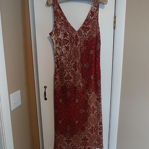 Burgundy print silk dress by Banana Republic